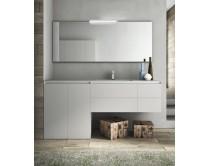 zrcadlo s hliníkovým profilem, výška 45 cm, šířka 115 - 150 cm , s LED osvětlením, Idea