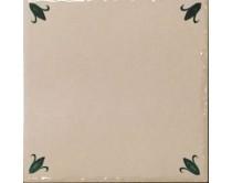 obklad TPR-DBOC 15x15, styl dekor, lesklý, krémovo-zelený