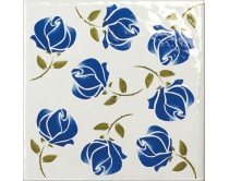obklad TPR-DBOU 15x15, styl dekor, lesklý, modrý