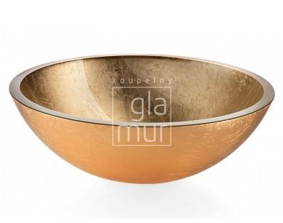 umyvadlo Ø 42,5 cm Lineabeta Acquaio, sklo, zlaté