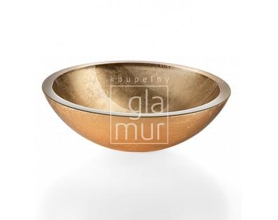 umyvadlo Ø 30,5 cm Lineabeta Acquaio, sklo, zlaté